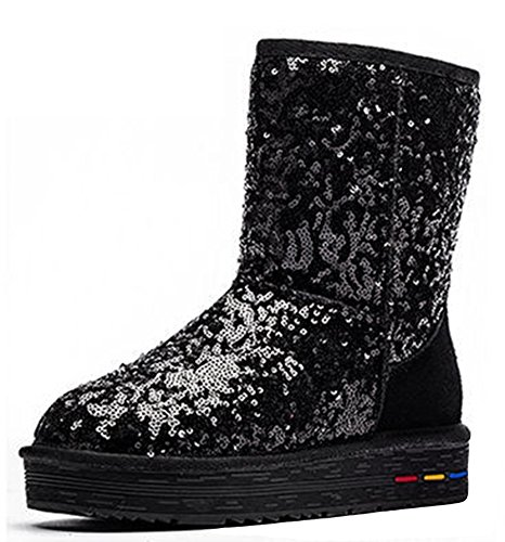 Black Womens IDIFU Lined Sequins Comfy Snow Platform Booties Fleece Rd8wqHxd