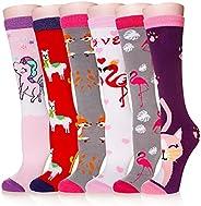 Girls Knee High Socks Funny Cartoon Long Tall Boot Cotton Kids Warm Stockings Novelty Childs Cute Animal Socks
