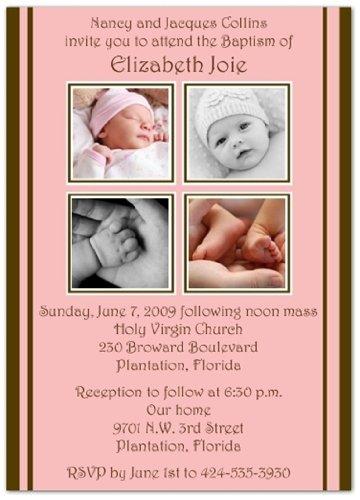 amazon com 2 2 on pink brown baptism invitations christening
