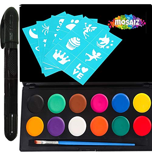 Face Paint Kit for Kids and Adults - 12 Colors Face Painting Palette Bonus 30 Stencils, Brush & Pen - Birthday Gift for Girls Age 4 5 6 7 8 9 10 11+ Body Paint Facepaint Party Supplies