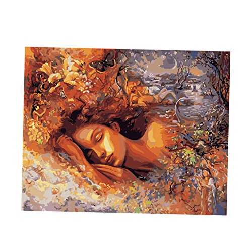 (Homyl Unframed Digital DIY Paint By Number Kit Scenery Oil Painting on Canvas 50cm x40cm - Fairy Girl)