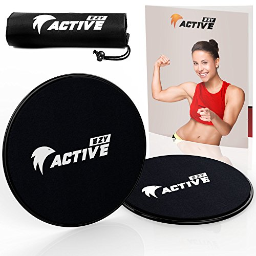 EZY ACTIVE Fitness Slider Discs - Sliders Fitness | Exercise Sliders - Workout Slides, Fitness Sliders (Black)