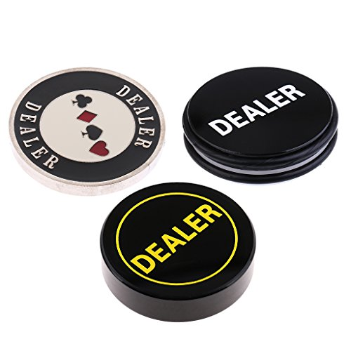 Card Dealer Button Guard - D DOLITY 3x Dealer Button Poker Texas Holdem Card Guard Chip Hand Protector 76x20mm