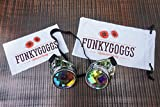 Kaleidoscope Goggles- Steampunk Rave Diffraction Glasses with Rainbow Crystal Prism Glass Lens by Funky Goggs