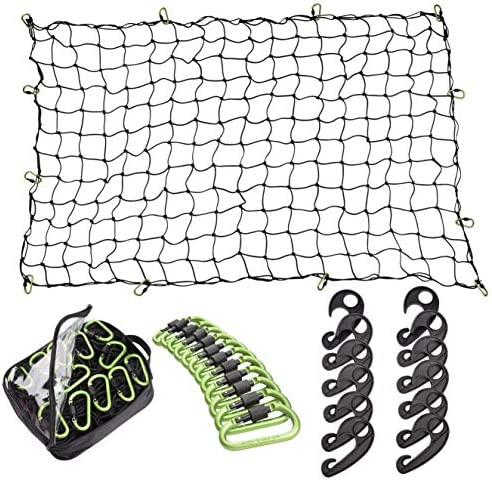 Seah Hardware 4 x 6 FT Super Duty Bungee Cargo Net for Truck Bed Stretches to eight x 12 FT | 24 Pieces Universal Hooks| Small 4 x 4 Inches Mesh| Universal Heavy Duty Car Rear Organizer Net