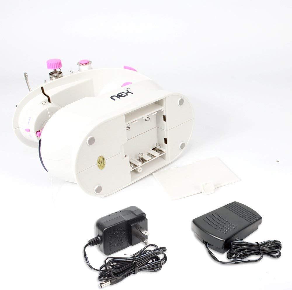 mini cavalletto pieghevole per ingrandire il campo di funzionamento con pedale a doppio pedale e coperchio per succo con luce a LED per principianti Macchina da cucire NEX rosa