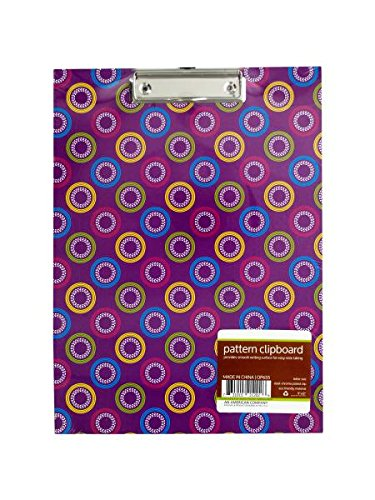 Chrome Plated Clip - Kole Imports Pattern Clipboard with Steel Chrome Plated Clip (OP655)