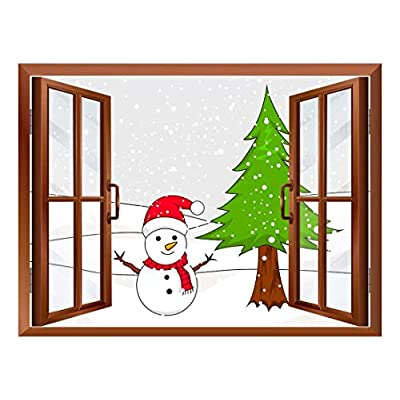 Made With Top Quality, Beautiful Artisanship, Cartoon Snowman and Christmas Tree Peel and Stick Removable Window View Wall Sticker Wall Mural