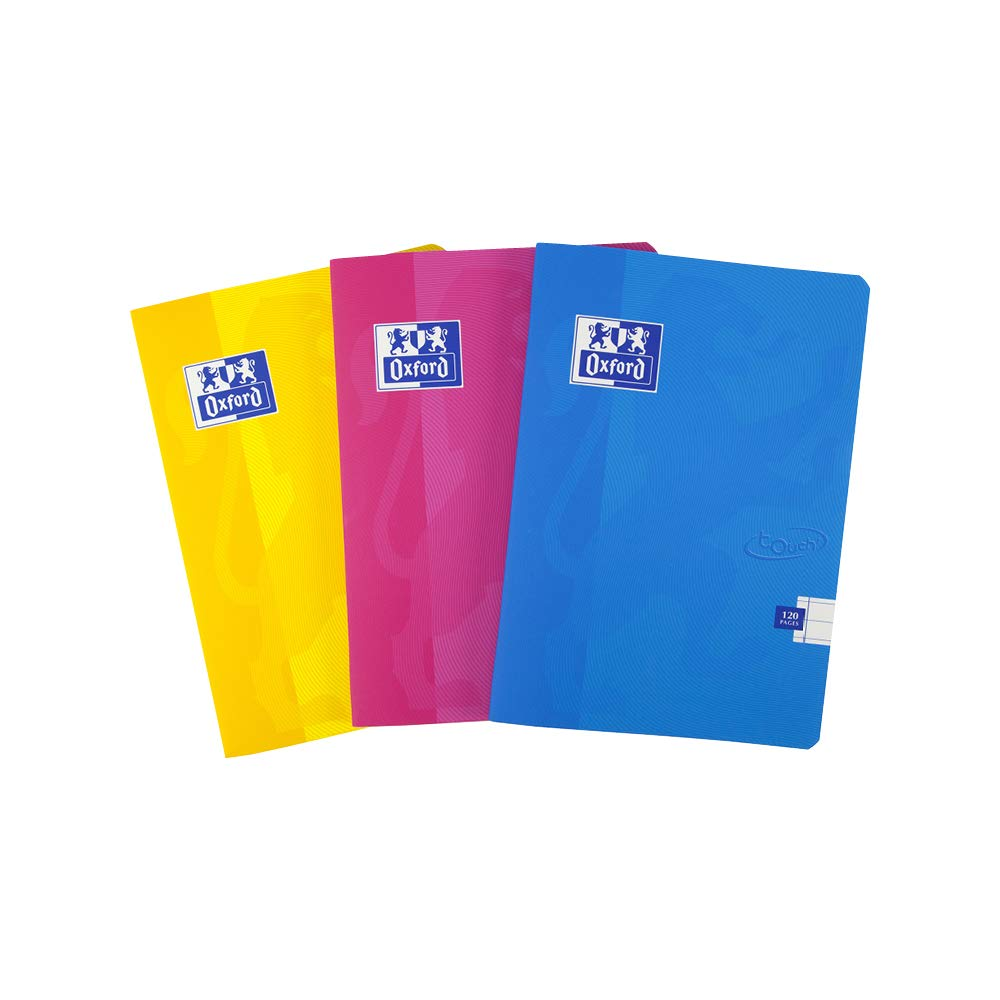 Oxford Touch, Exercise Books A5 Lined, A5 Notebooks, 120 Page, Assorted, Pack of 3