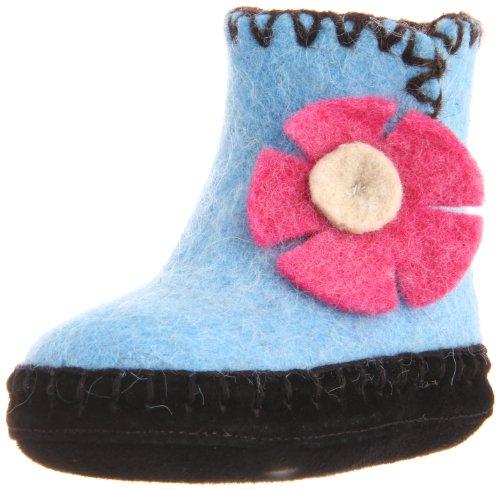 Satch & Sol Blue Flower Moccasin Slipper (Infant/Toddler/Little Kid/Big Kid),Ocean Blue & Pink,3 M - Blue Satch