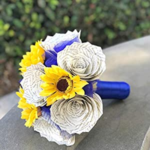 Sunflowers and Book Page Roses Wedding Bouquet - Customizable colors 54