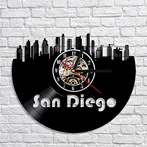 SKYTY San Diego Cityscape 3D Wanduhr Moderne Desgin Skyline Vinyl Record Clock Handgefertigten Dekor Wanduhr Mit Led 12 Zoll