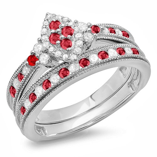 (Dazzlingrock Collection Sterling Silver Ruby & White Diamond Bridal Marquise Shape Ring Set, Size 8.5)