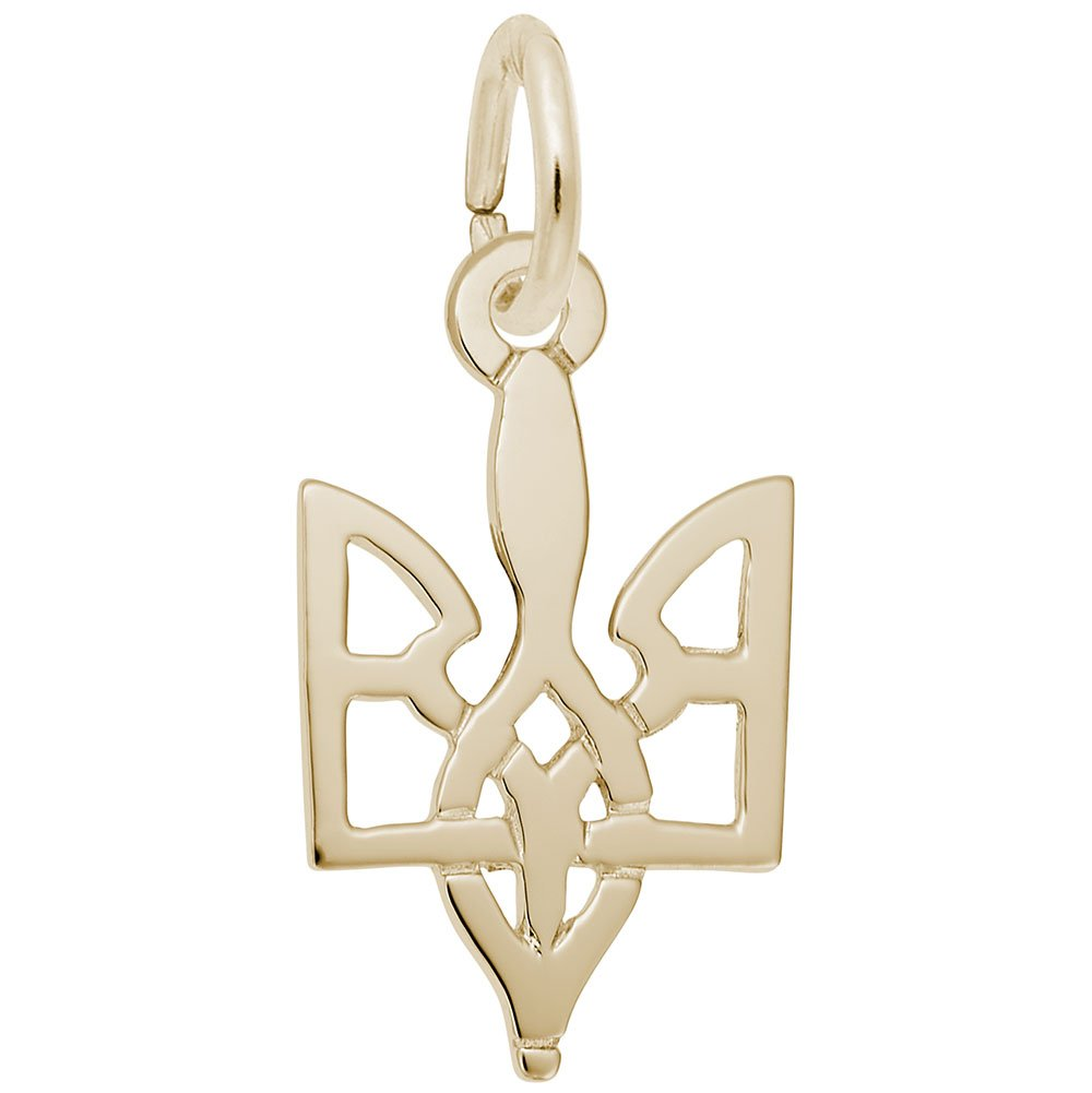 Ukrainian Trident Charm In 14k Yellow Gold, Charms for Bracelets and Necklaces