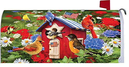 '' Patriotic Birdhouses '' - Patriotic - Mailbox Makeover - Vinyl Magnetic Cover by Custom Decor