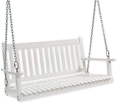 Slatted Wood Porch Swing, in White Paint