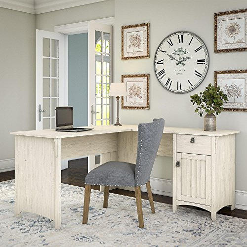 Bush Furniture Salinas L Shaped Desk with Storage in Antique White ()
