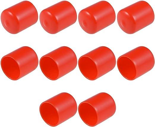 uxcell 10pcs Rubber End Caps 18mm ID Round End Cap Cover Flexible Screw Thread Protectors Black