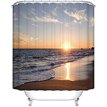Goodbath Beach Shower Curtain, Ocean Waves Sunset Pattern For Bathroom  Decor, Polyester Fabric Mildew
