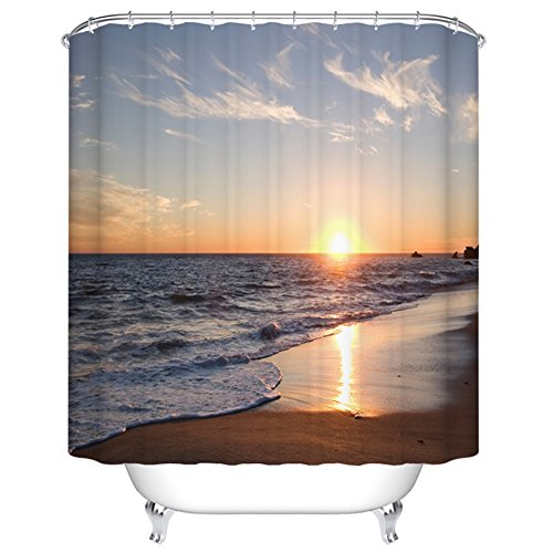 Goodbath Beach Shower Curtain, Ocean Waves Sunset Pattern for Bathroom Decor, Polyester Fabric Mildew Resistant and Waterproof Bath Curtains, 66 x 72 Inch, Blue Gold Brown