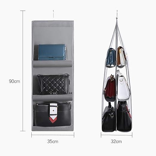 RIANCH Hanging Handbag Organizer Staubdichte Aufbewahrungstasche Kleiderschrank Clutch mit 6 gr/ö/ßeren Taschen Schwarz