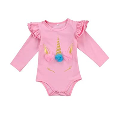 973305028 Amazon.com  Goddessvan Newborn Baby Girls Floral Unicorn Polka Dot ...