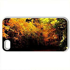Autumn Slepdour - Case Cover for iPhone 4 and 4s (Forests Series, Watercolor style, White)
