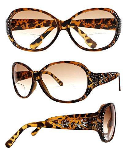 Women Luxury Rhinestone Flower Sunglasses Bifocal Reading Glasses Reader +1.00 ~ +4.00 (Brown, +3.00) (Glasses Rhinestone Reading Brown)