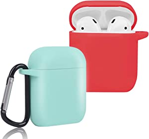 CEEPUY Case for Airpods, 2 Pack Protective Soft Silicone Earbuds Cover [Front LED Visible] Headphones Accessories Compatible with Apple Earpods 2/1,Mint Green/Red