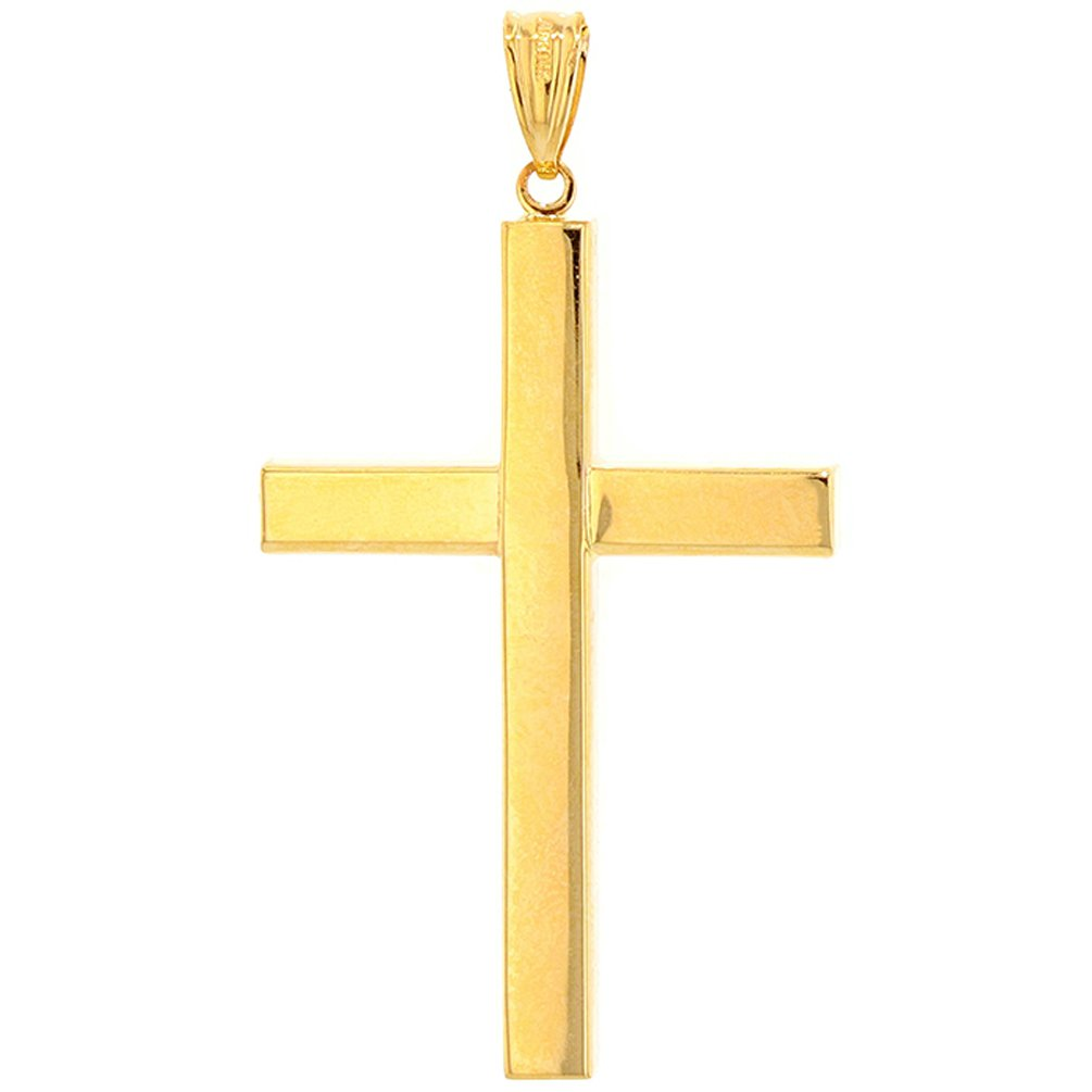 14k Yellow Gold Simple Religious Cross Pendant with Cuban Chain Necklace, 24'' by JewelryAmerica (Image #3)