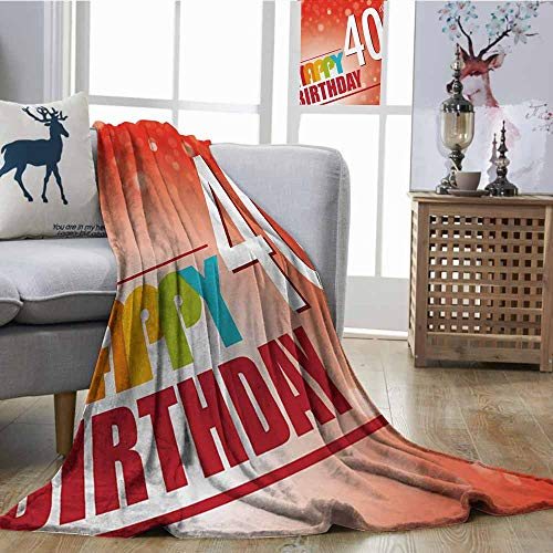 (Homrkey Throw Blanket 40th Birthday Party Invitation in Vibrant Colored Retro Style and on Bokeh Effect Backdrop Multicolor Sofa Chair W54 xL84)
