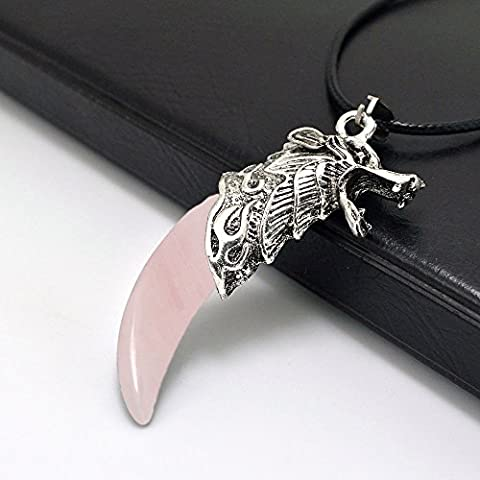 Men_Silver_Rose_Quartz_Stainless_Steel_Wolf_Tooth_Pendant_Leather_Rope_Necklace - Rose Quartz Rope