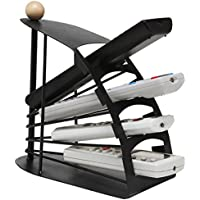 MyGift Modern Chic Space Saving Black Metal Fan Design 4 Slot TV Remote Control Storage Organizer Caddy