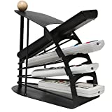 Living Room Furniture MyGift Modern Chic Space Saving Black Metal Fan Design 4 Slot TV Remote Control Storage Organizer Caddy
