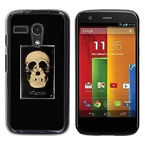 GOODTHINGS Funda Imagen Diseño Carcasa Tapa Trasera Negro Cover Skin Case para Motorola Moto G 1 1ST Gen I X1032 - amor cráneo retro par cartel negro
