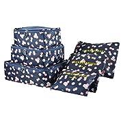 Koffer Organizer Reise Kleidertaschen, EASEHOME 6 Stück wasserdichte Kofferorganizer Packtaschen Reisegepäck für…