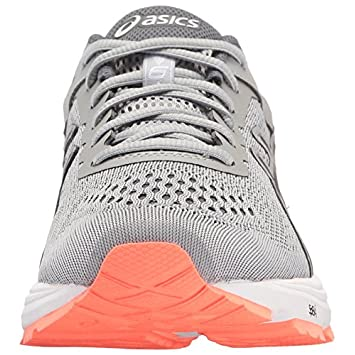 ASICS Womens GT-1000 6 Running Shoe, Mid Grey Carbon Flash Coral, 8 D US