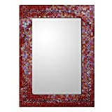 NOVICA Orange and Red Glass Mosaic Wood Framed Rectangular Decorative Wall Mirror 'India Sunset' (large)