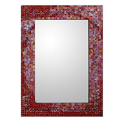 NOVICA Orange and Red Glass Mosaic Wood Framed Rectangular Decorative Wall Mirror 'India Sunset' - India Mirror