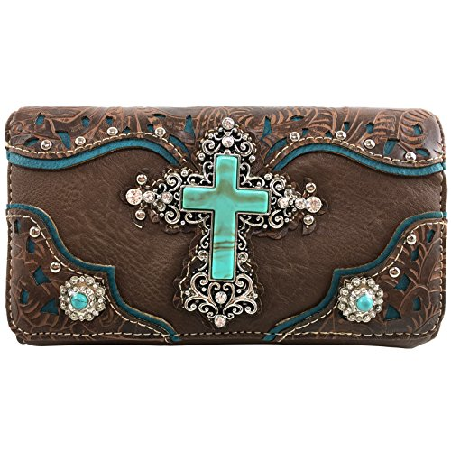 Justin West Tooled Leather Laser Cut Turquoise Rhinestone Cross Concho Studded Messenger Handbag with CrossBody Strap (Brown Wallet)