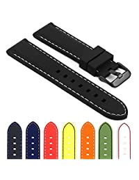 StrapsCo Rubber Divers Sport Replacement Watch Band in Black w/ White Stitching & Matte Black Buckle 22mm
