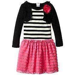 Sweetheart Rose Little Girls' Stripe Eyelash Shrug Dress