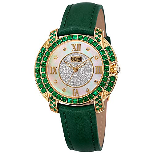 Burgi Swarovski Crystal Women's Watch - Unique Diamond Hour Markers on Mother of Pearl Dial With Colored Swarovski Crystals On Genuine Leather Strap Watch - BUR156