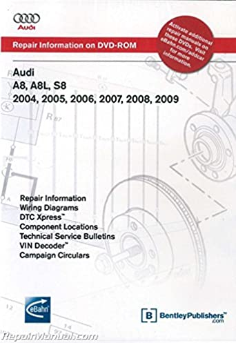 ad35 audi a8 a8l s8 2004 2009 repair manual dvd rom manufacturer rh amazon com 2005 audi a8 wiring diagram fuses wipers 2004 Audi A8