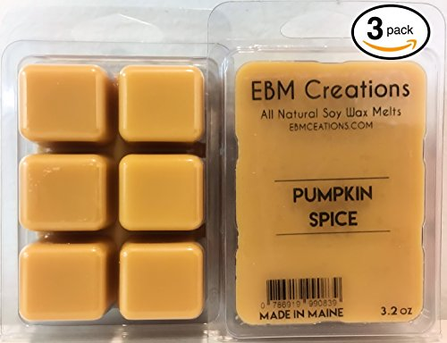 3 Pack - Pumpkin Spice - Scented All Natural Soy Wax Melts - 6 Cube Clamshell 3.2oz Highly Scented! (Summer Breeze Vanilla Cream)