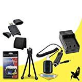 Halcyon Brand 600 mAH Charger with Car Charger Attachment Kit + Memory Card Wallet + SDHC Card USB Reader + Deluxe Starter Kit for Sony CyberShot DSC-HX30V, DSC-HX20V, DSC-HX5V, DSC-HX7V, DSC-HX9V, DSC-H3, DSC-H7, DSC-H9, DSC-N1, DSC-N2, DSC-T100, DSC-T20