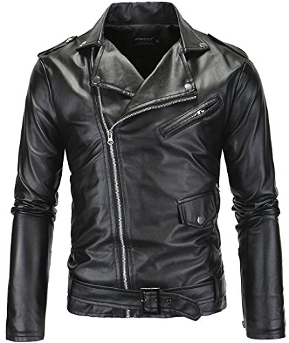 LANBAOSI Men's Leather Motorcycle Biker Jacket Police Style Faux Leather Jackets, Black, Medium