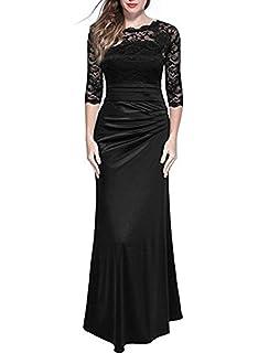 d291d3b20b7 IJ Women s Retro Floral Lace Vintage 2 3 Sleeve Slim Ruched Wedding Maxi  Dress