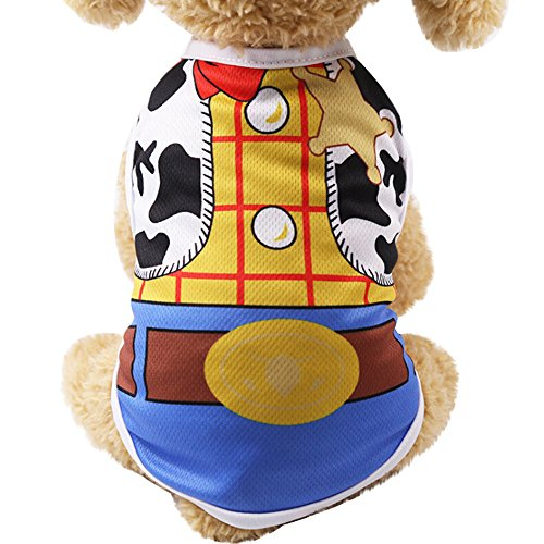 Fewear Summer Pet Dog Clothes Puppy Dog Cat Vest Shirt Fake Strap (L, Yellow)