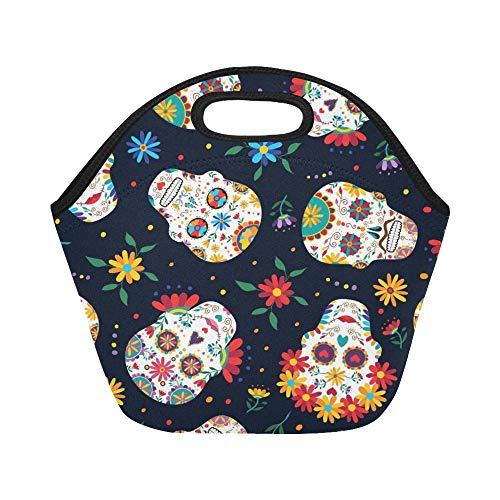 Insulated Neoprene Lunch Bag Day Dead Traditional Mexican Large Size Reusable Thermal Thick Lunch Tote Bags For Lunch Boxes For Outdoors,work, Office, School for $<!--$21.00-->